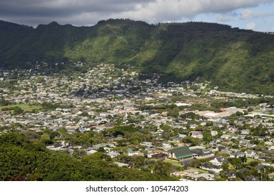 View of Manoa Valley from Tantalus, Oahu, Hawaii.