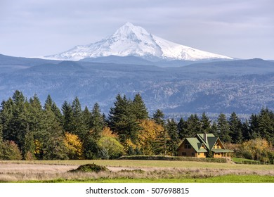 View of a mansion homes and Mt. Hood in the background Washington state.