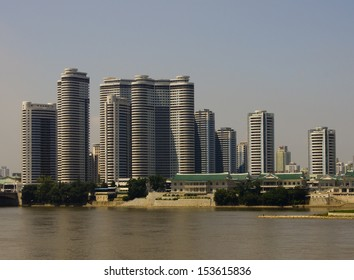 View of the Mansudae housing complex in Pyongyang - the capital