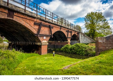A view of the Manton railway viaduct over the Chesterfield canal in Nottinghamshire, UK in springtime