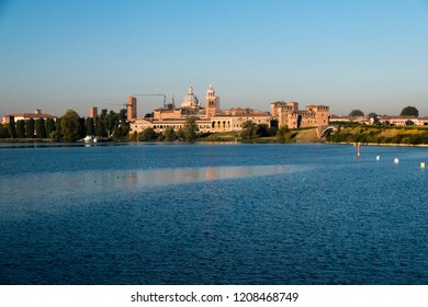 View of Mantua in the morning with the lake, Lombardy, Italy