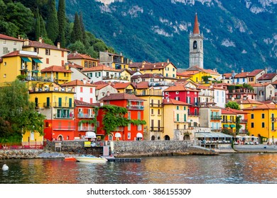 View of many color buildings in Varenna, Como lake, Italy.