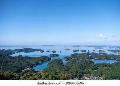 View of many island and sea. Kujuku island (99 islands) in Sasebo, Nagasaki, Japan.