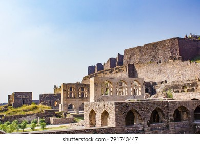 View of the Many Mughal Arches Lining the Walkway up Golconda Fort in Hyderabad, India