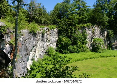 View of a marble cliff in Natural Bridge State Park in North Adams, Massachusetts