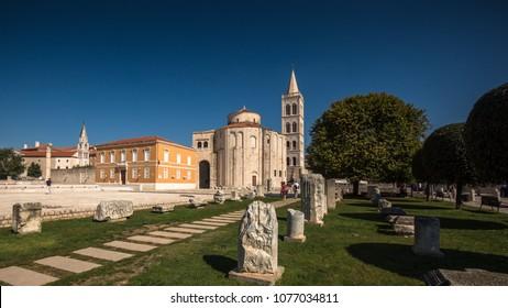 View at marble historic landmarks in Zadar, Croatia