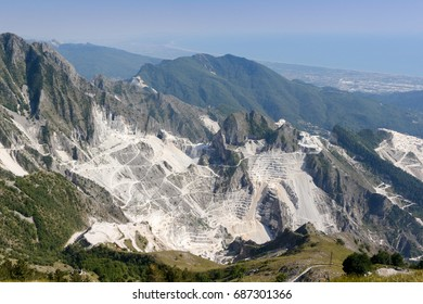 A view of marble quarry in carrara