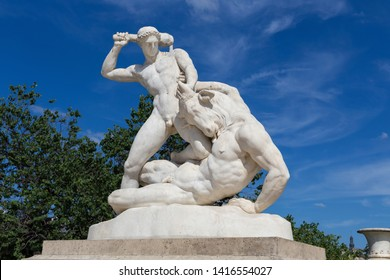 View of the marble sculpture Theseus and the Minotaur (1827) by Etienne-Jules Ramey (1796-1852) in the Tuileries Park, Paris, France.