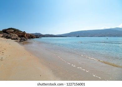 View of Marcello beach - Cyclades island - Aegean sea - Paroikia (Parikia) Paros - Greece