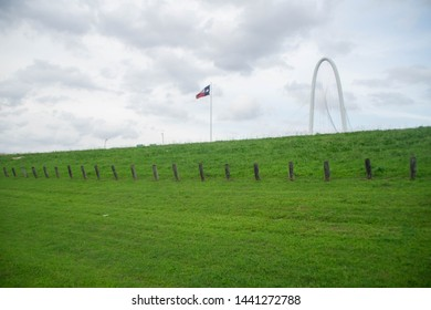 View at  Margaret Hunt Hill Bridge over green field, Texas, USA