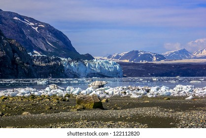A view to Margerie and Grand Pacific glaciers from Tarr inlet in Glacier Bay national park, Alaska