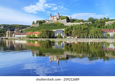 View of the Marienberg Fortress reflecting in the Main River in Wurzburg, Germany