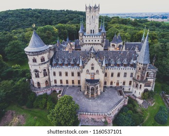 View of Marienburg Castle, a Gothic revival castle in Lower Saxony, Germany, near Hanover, drone aerial view