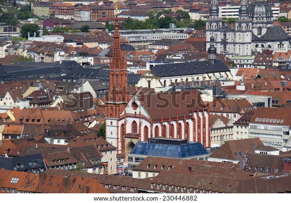 View of the Marienkapelle church of Wurzburg, Germany from the Marienburg Castle