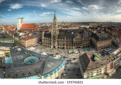 View of Marienplatz (Mary's Square) in Munich, Bavaria, Germany, on a warm, cloudy spring day.