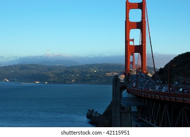 View, from the Marin County San Francisco Peninsula, of the Golden Gate Bridge