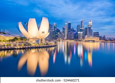 View of Marina Bay at night in Singapore City, Singapore