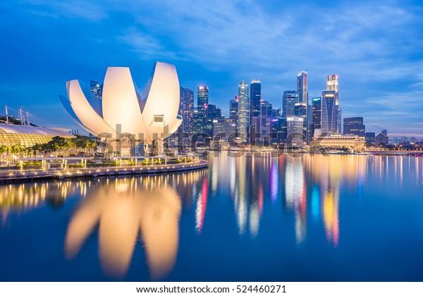 View of Marina Bay at night in Singapore City, Singapore