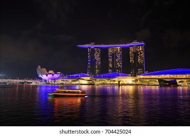 view of marina bay at night, urban landscape of Singapore