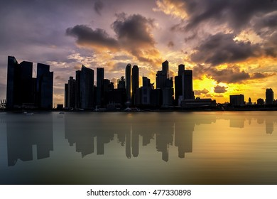 View of Marina Bay at sunset time, shadow dark, silhouette