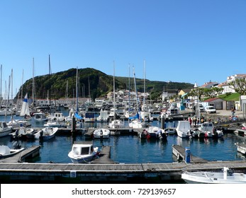 view of the marina and the city of Horta, Faial, Azores, Portugal