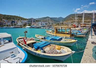 View of the marina in Finike, Antalya province. Turkey