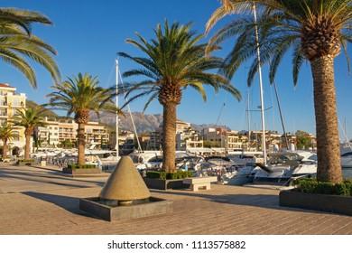 View of marina of Porto Montenegro. Tivat city, Montenegro