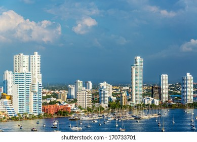 View of the marina and tall apartment buildings in the modern section of Cartagena, Colombia