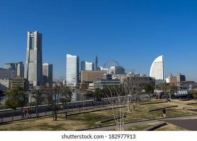 View of the Marina in Yokohama City, Kanagawa, Japan