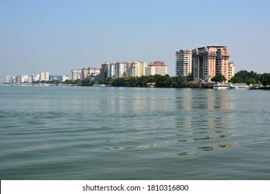 The view of the Marine Drive in Ernakulam and Cochin Port or Kochi Port on the Laccadive Sea in the city of Kochi, India