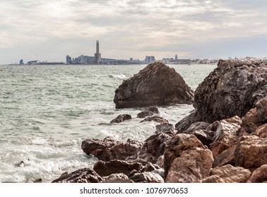 View of maritime mediterranean sea front of Barcelona from Montgat village.