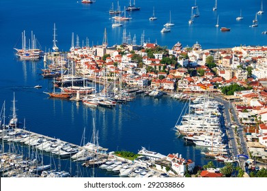 View of Marmaris marina and old town on Turkish Riviera.