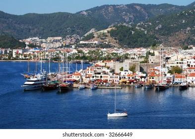The view of Marmaris, popular resort town in Turkey.
