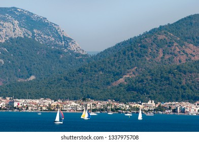 The view of Marmaris resort town trapped between the sea and mountains (Turkey).