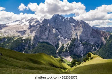 View of the Marmolada, also known as the Queen of the Dolomites. Marmolada is the highest mountain of the Dolomites, situated in northeast of Italy.