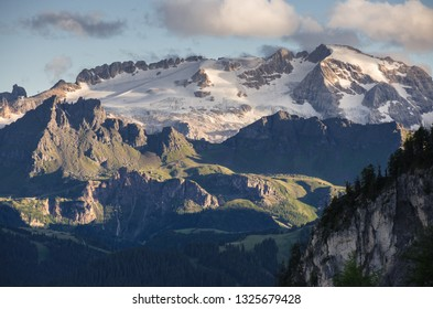 View of Marmolada mountain massif , as seen from Gardenacia refuge, Puez-Odle Nature Park, La Villa village, Dolomites, Trentino,  Alto Adige, South Tyrol, Italy