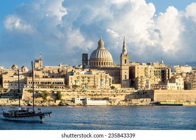 View of Marsamxett Harbour and Valletta. Malta