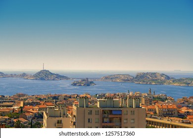 View of Marseille at archipel du Frioul from the Basilica of Notre-Dame de la Garde (Our Lady of the Guard) in Marseilles, France
