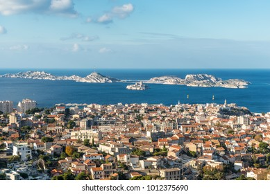 View of Marseille from basilica Notre-Dame de la Garde with the islands and If Castle, Provence, France