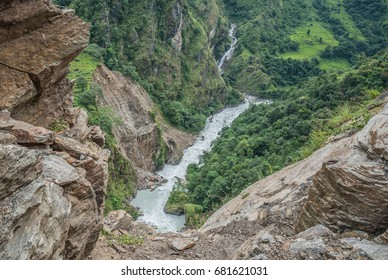 View of Marshyangdi river narrowing into a deep gorge on the trekking trail north of Syange village to Jagat village, Around Annapurna trek, Nepal Himalayas, Nepal