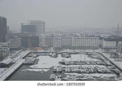 View from MAS Antwerp Eilandje Bonapartedok en Willemdok