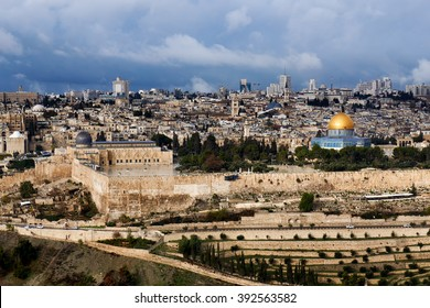 The view of Masjidil Aqsa which comprises Dome of the Rock and Al-Qibli Mosque from Mount of Olives