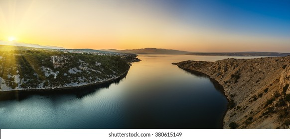 View from the Maslenica Bridge is a deck arch bridge carrying the D8 state road approximately 1 km to the west of the settlement of Maslenica, Croatia