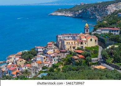 View of Massa Lubrense and the Cathedral, Chiesa Maria SS della Lobra, Punta Lagno region, Sorrento peninsula, Italy.