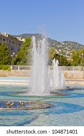 View from the Massena Square - the central square of Nice to fountains and the old part of town. Nice, France, Europe