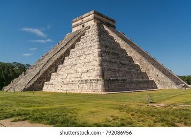 View to massive step pyramid El CastilloinChichenItza,Yukatan, Mexico.