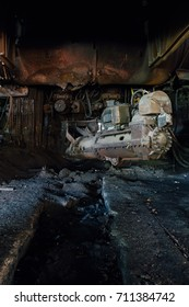 A view of a massive tapper, which tapped into molten steel at a blast furnace to release the liquid into a controlled ditch at a abandoned and now demolished steel mill.