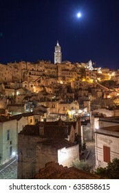 View of Matera by night Italy