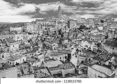 view of Matera with color grading, best view of Matera, Matera capital of culture, Matera skyline, black and white