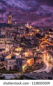 view of Matera at twilight, Matera at twilight, panorama of Matera at sundown